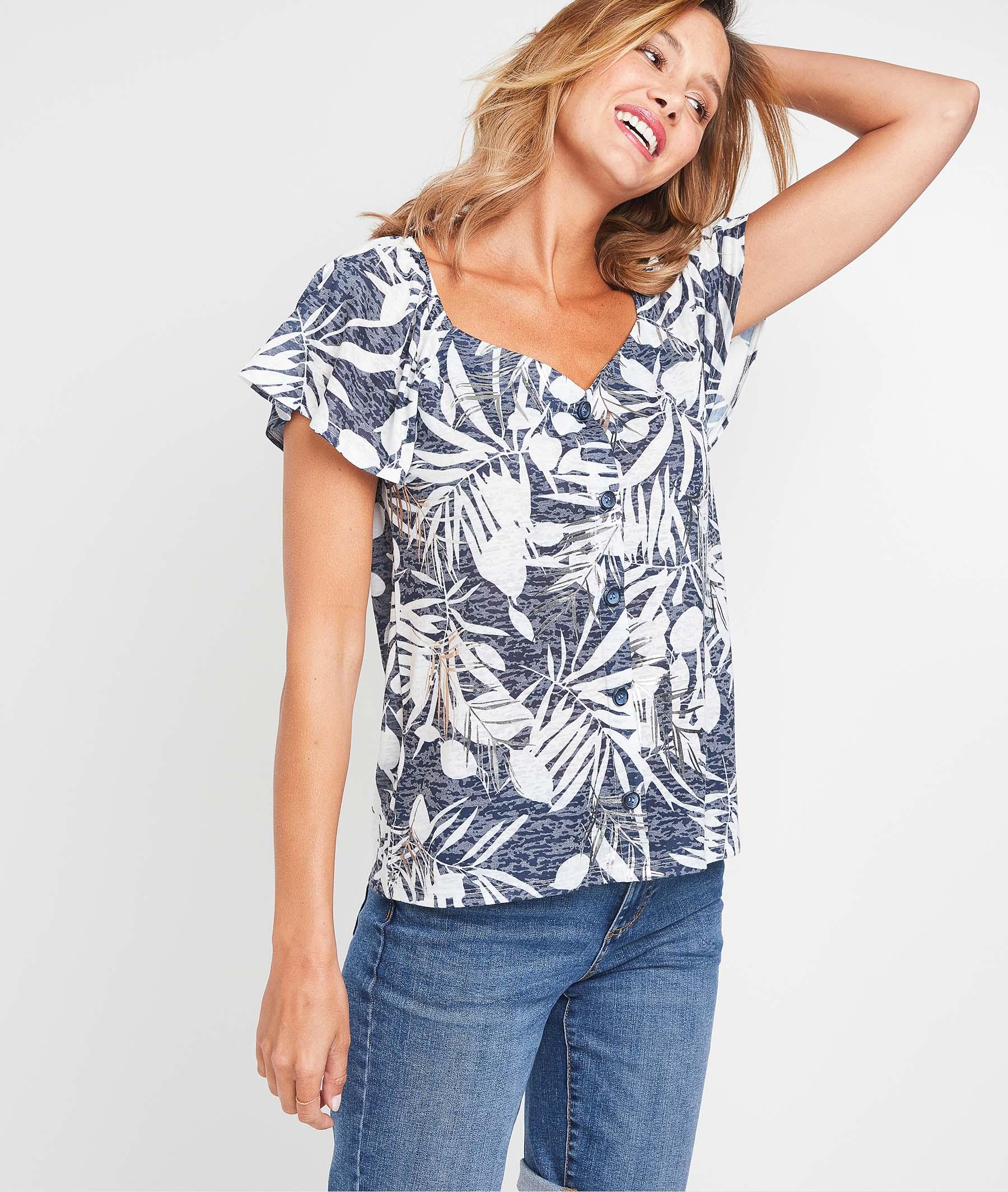 T-shirt imprimé tropical femme MARINE