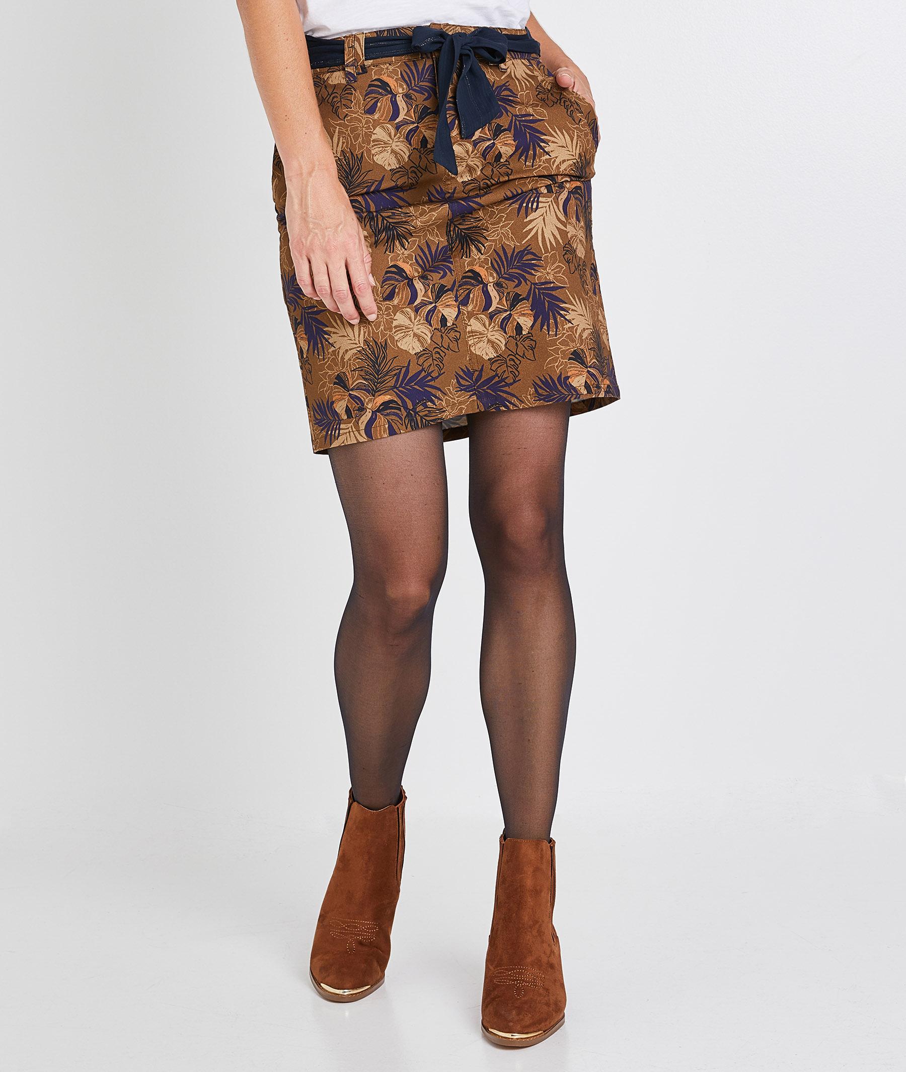 Jupe imprimée droite en coton femme BEIGE