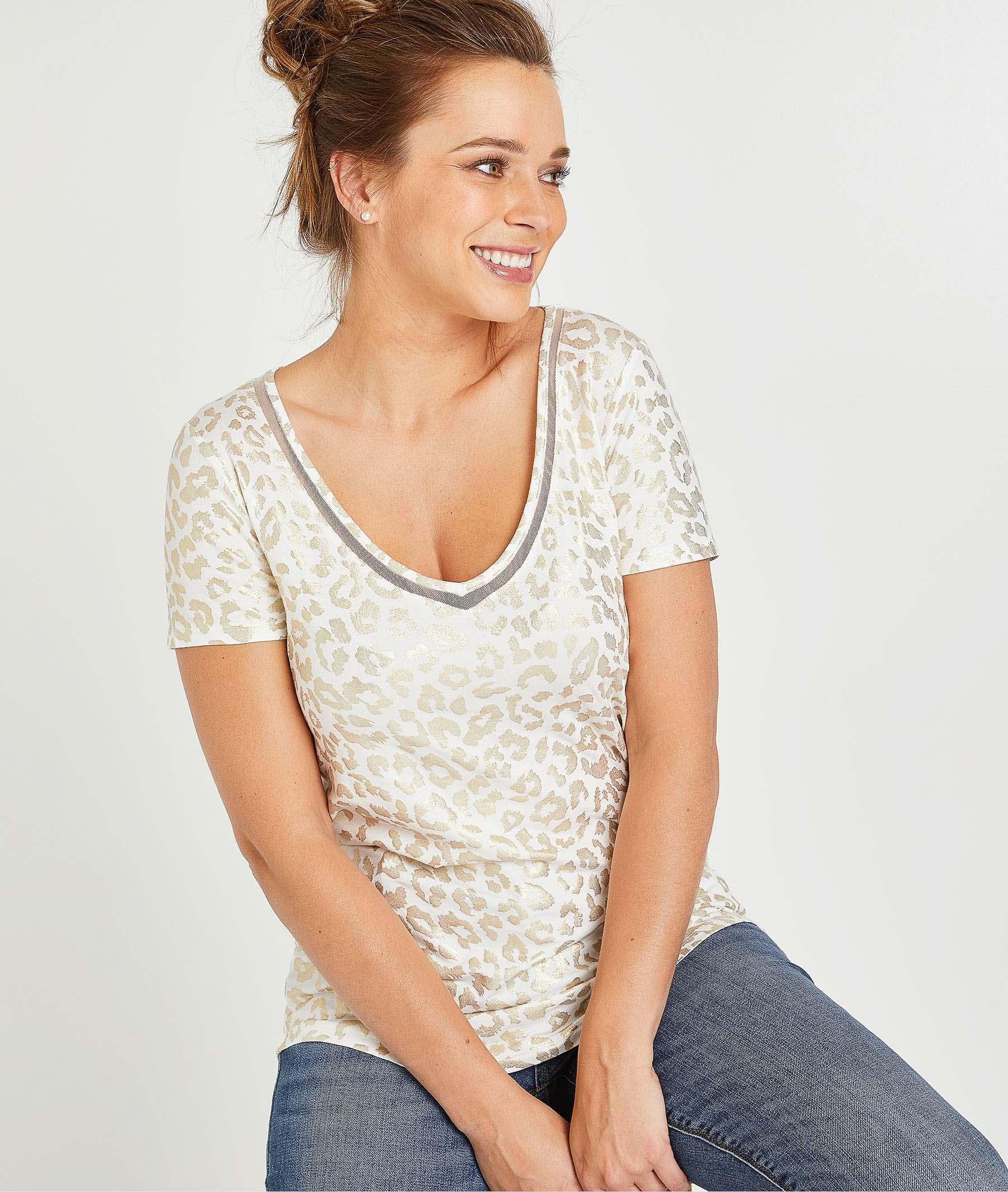 T-shirt imprimé panthère femme ECRU