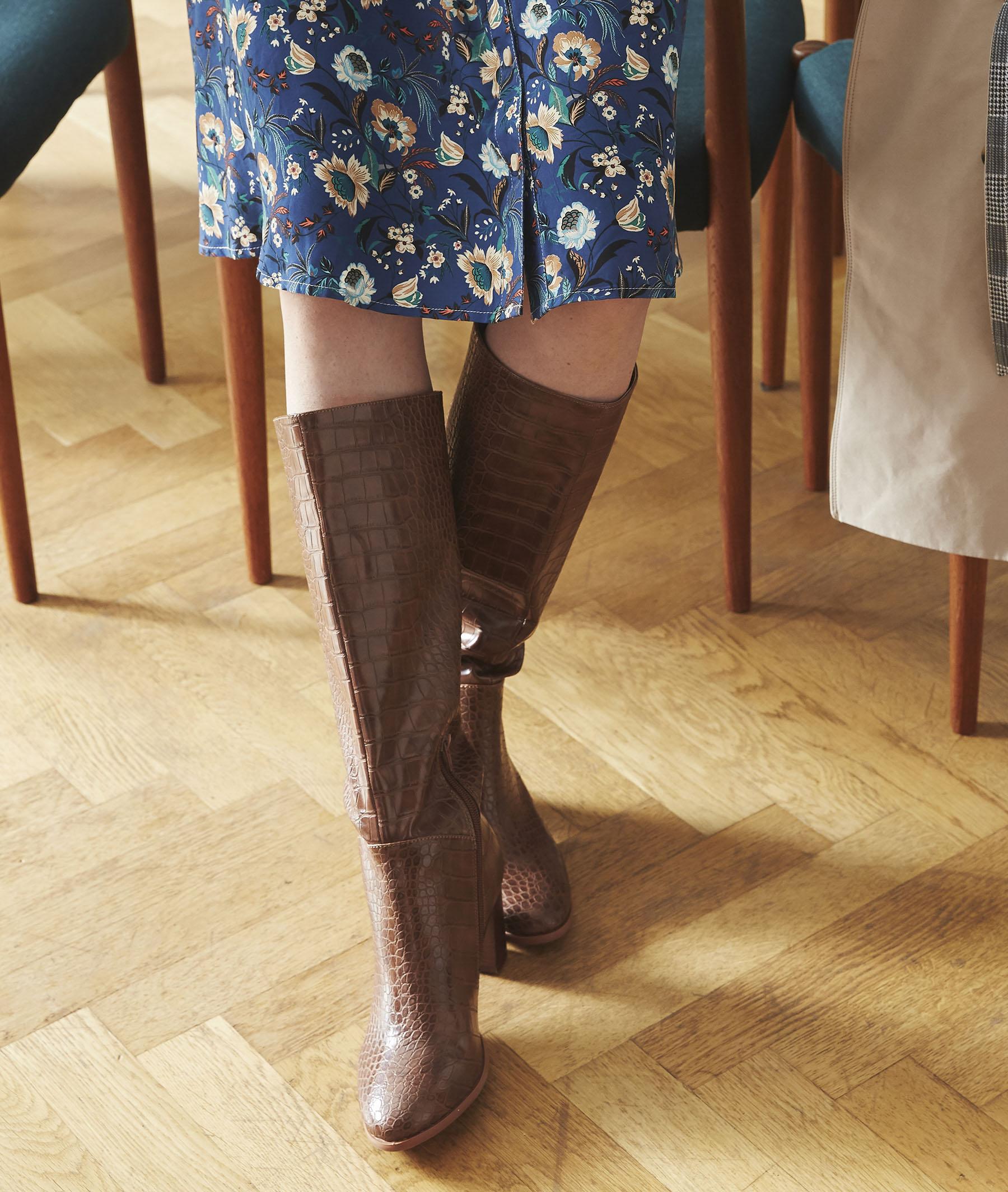 Bottes mi-hautes marroneffet croco femme CAMEL