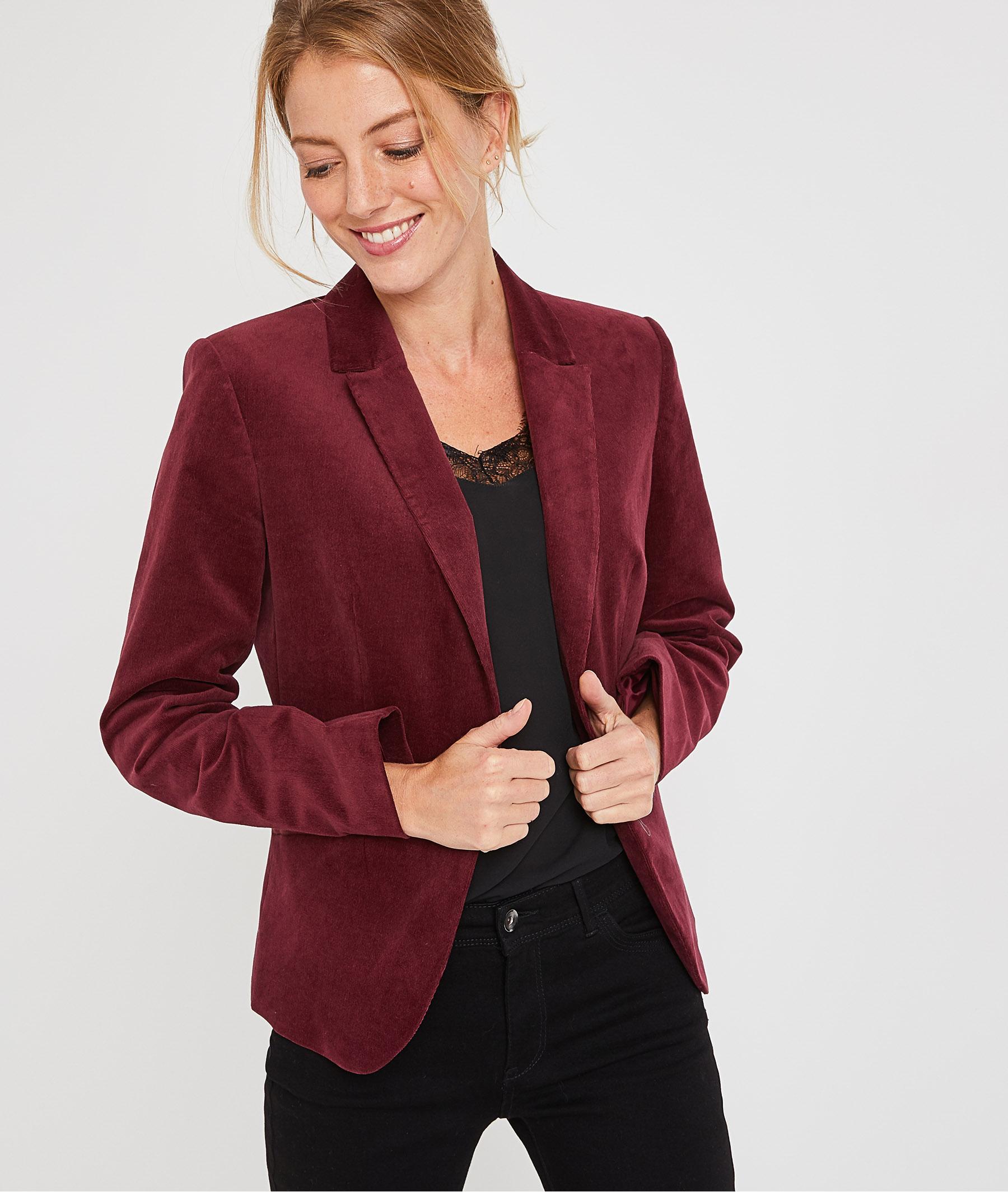 Veste de tailleur en velours rouge femme GRENAT