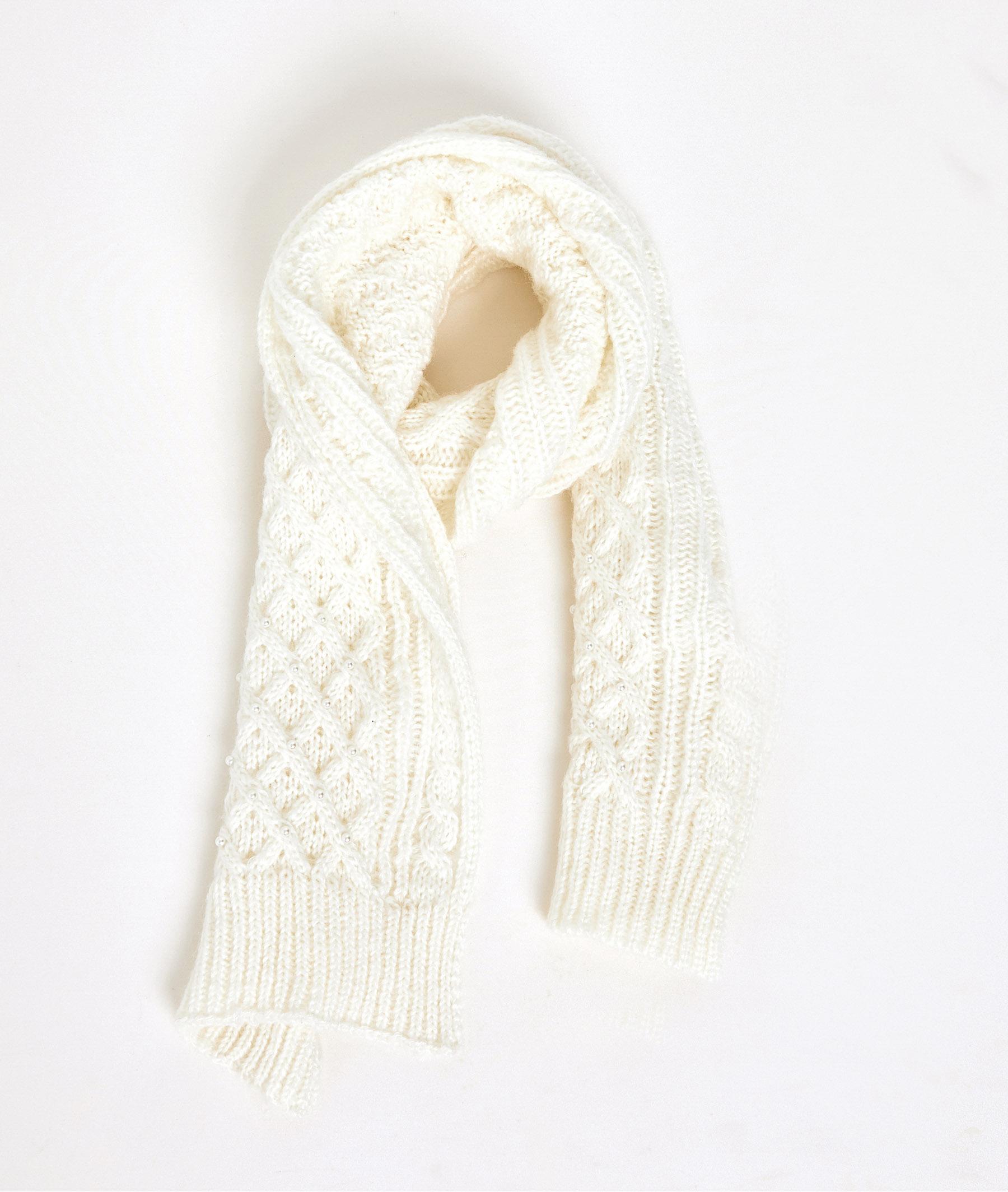 Echarpe tricot et perles femme ECRU