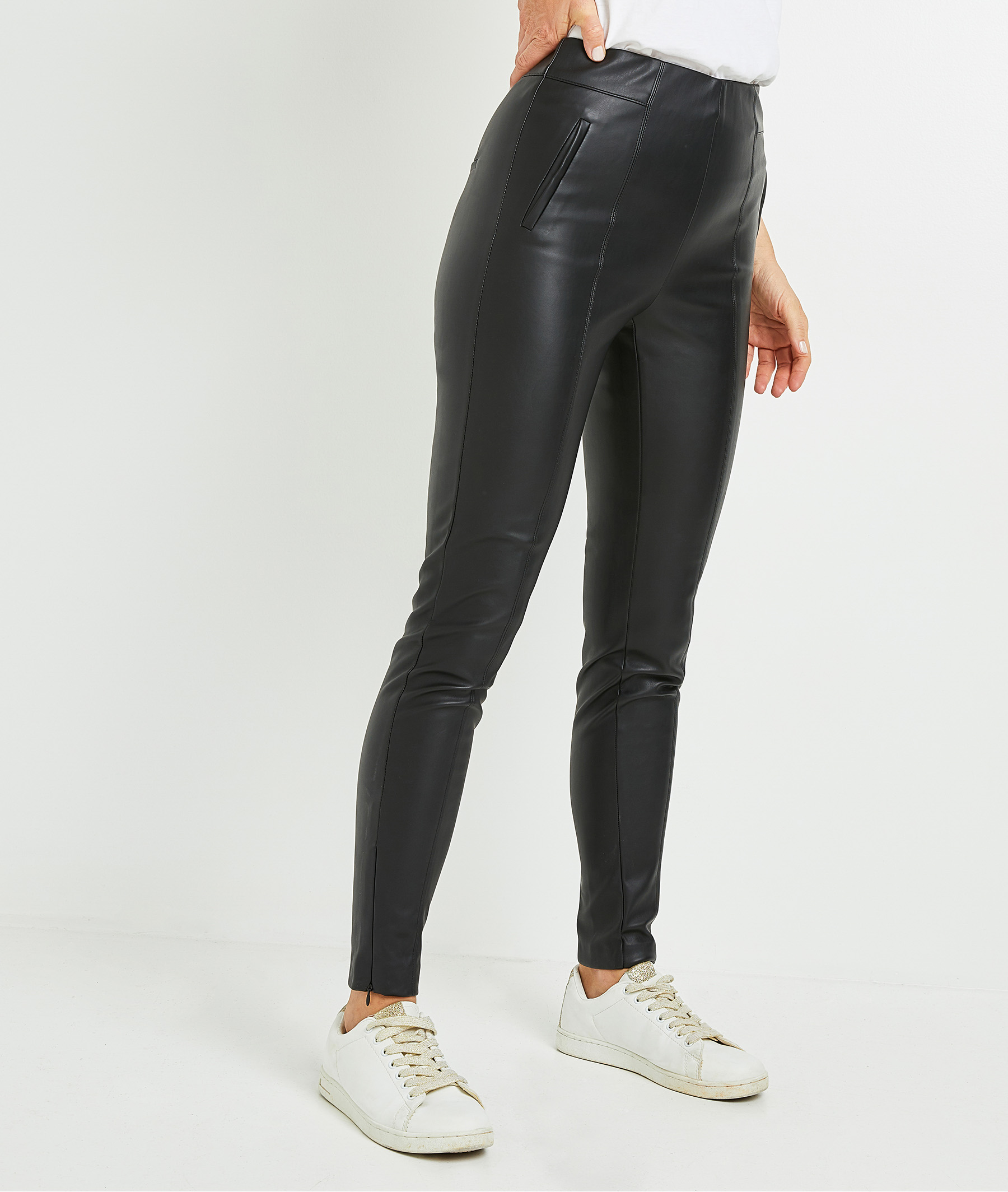 Legging en simili cuir noir femme NOIR