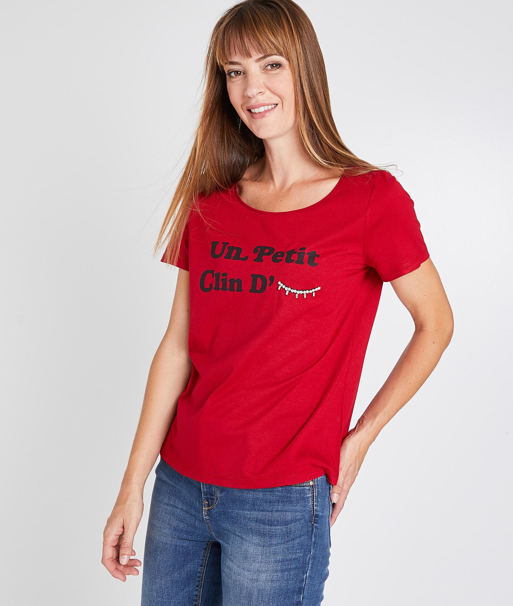 T-shirt clin d'oeil rouge femme ROUGE