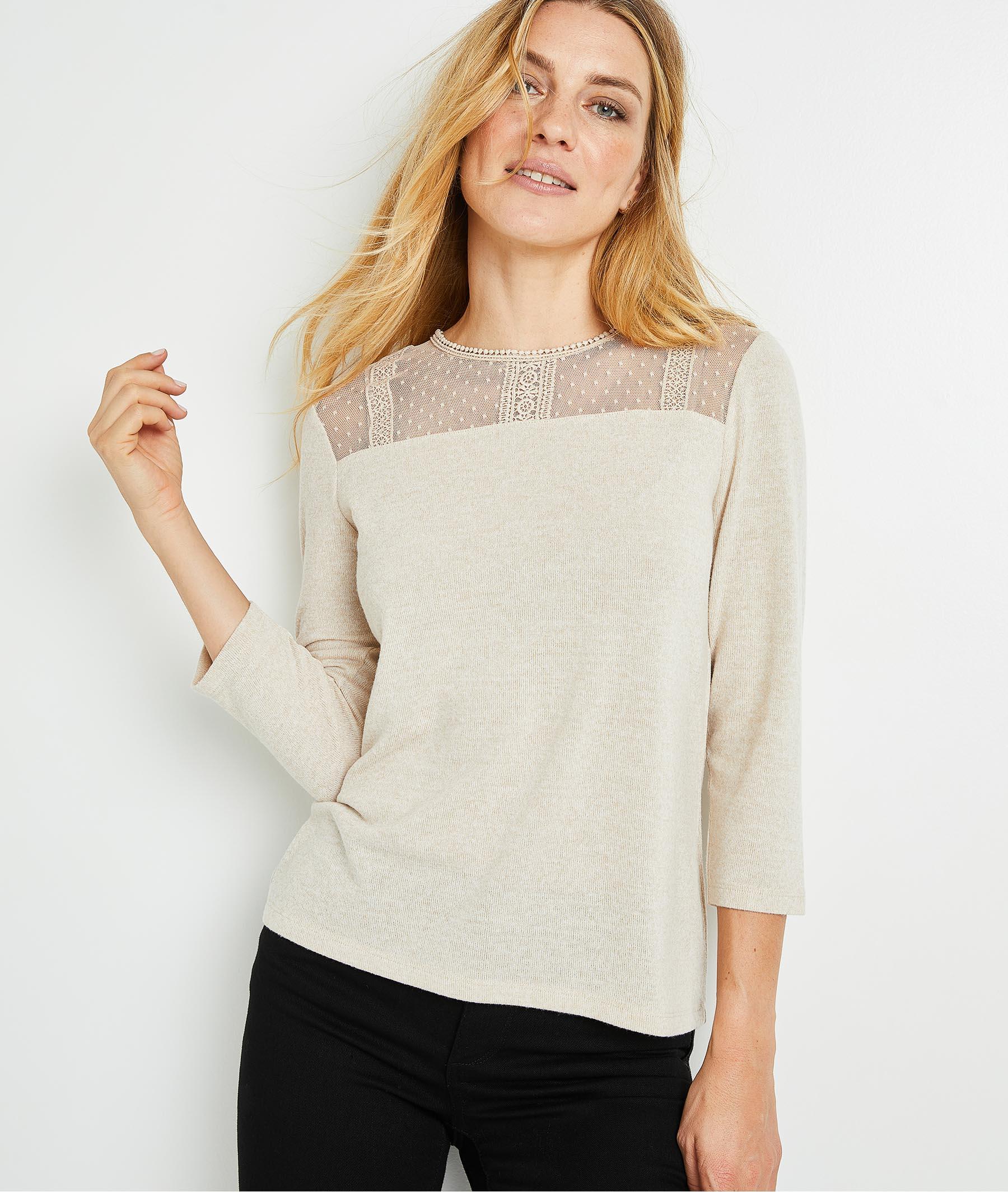 T-shirt doux avec plumetis brodés femme BEIGE CLAIR