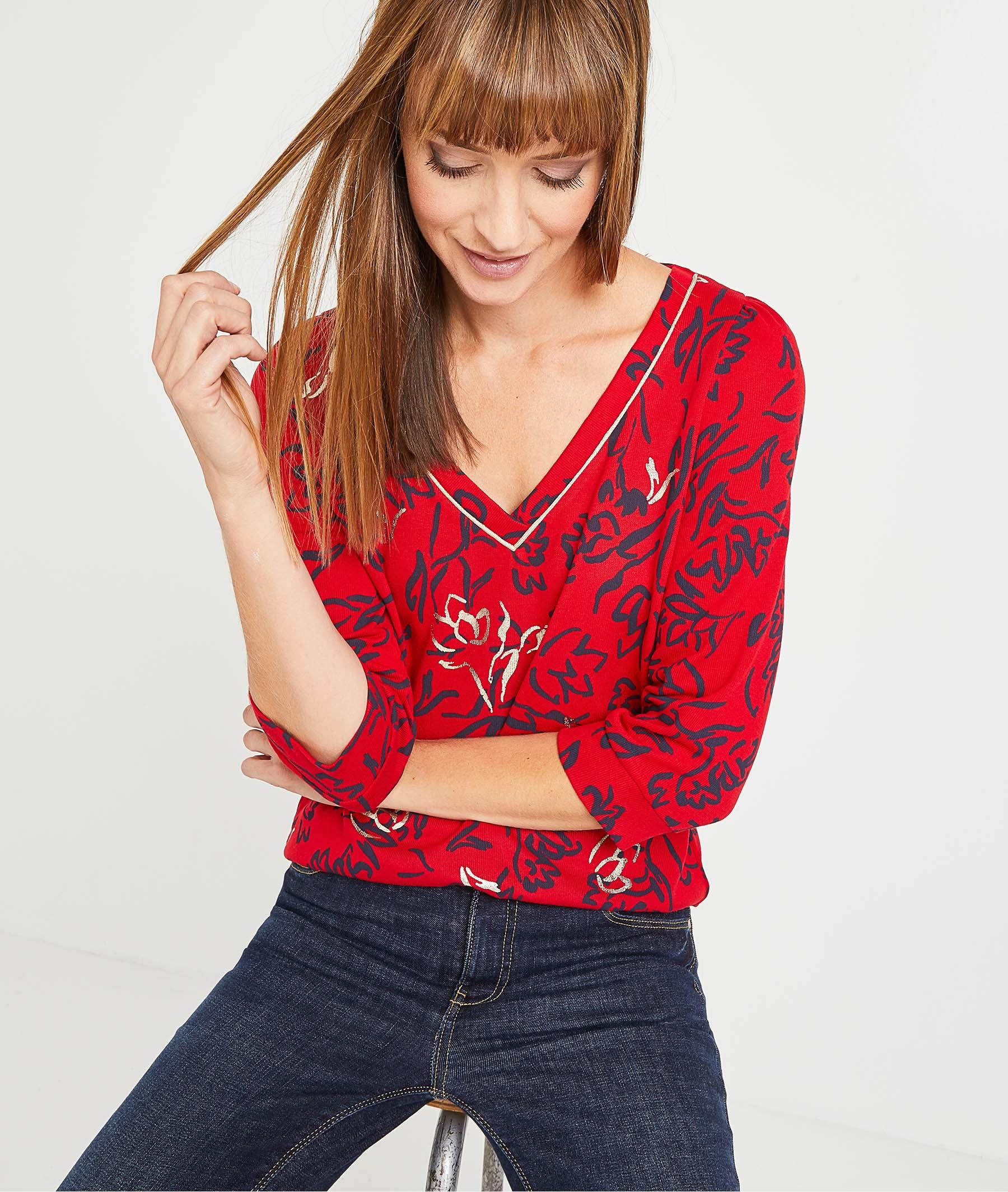 T-shirt rouge à fleurs femme ROUGE
