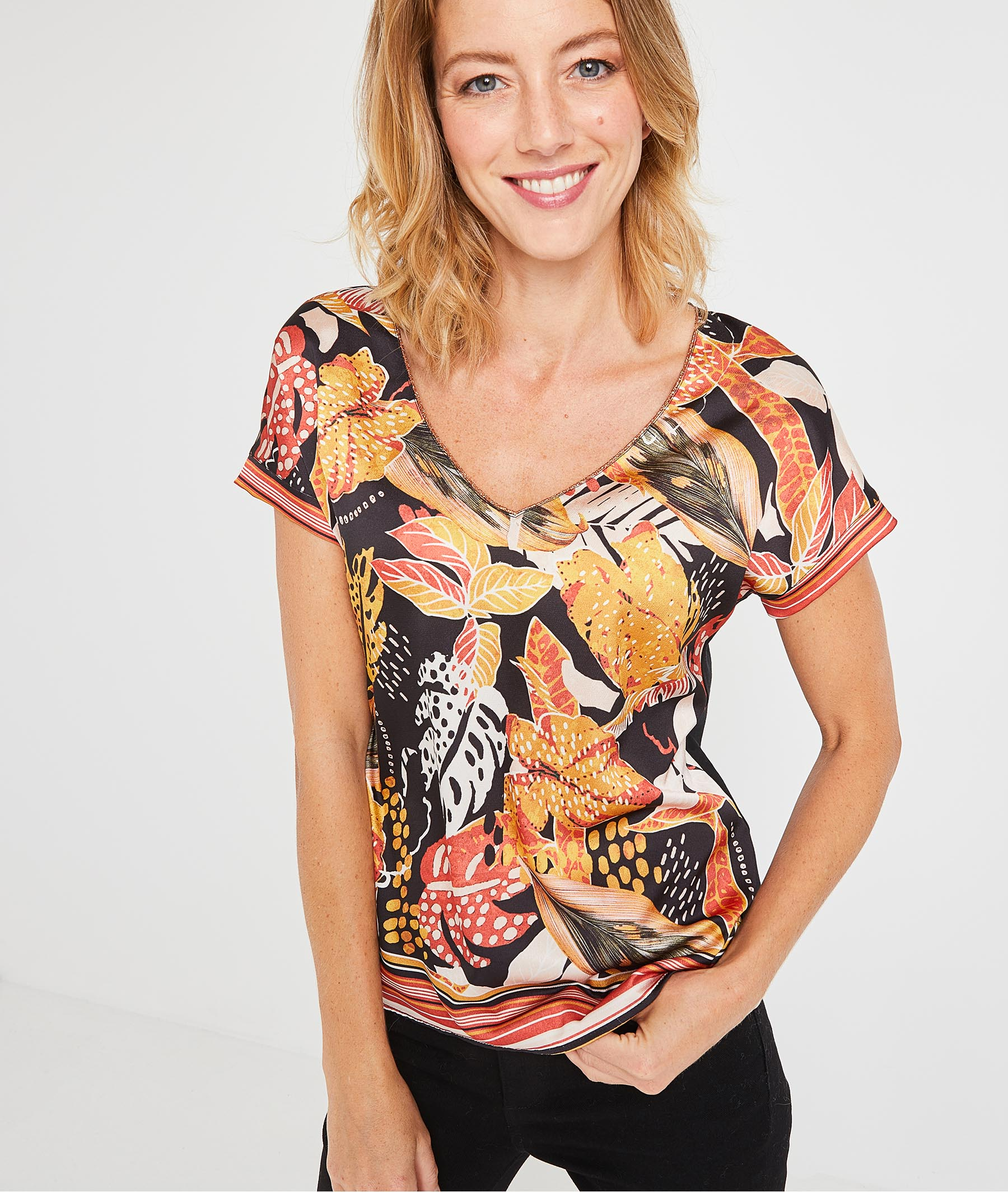 T-shirt imprimé feuillages femme NOIR
