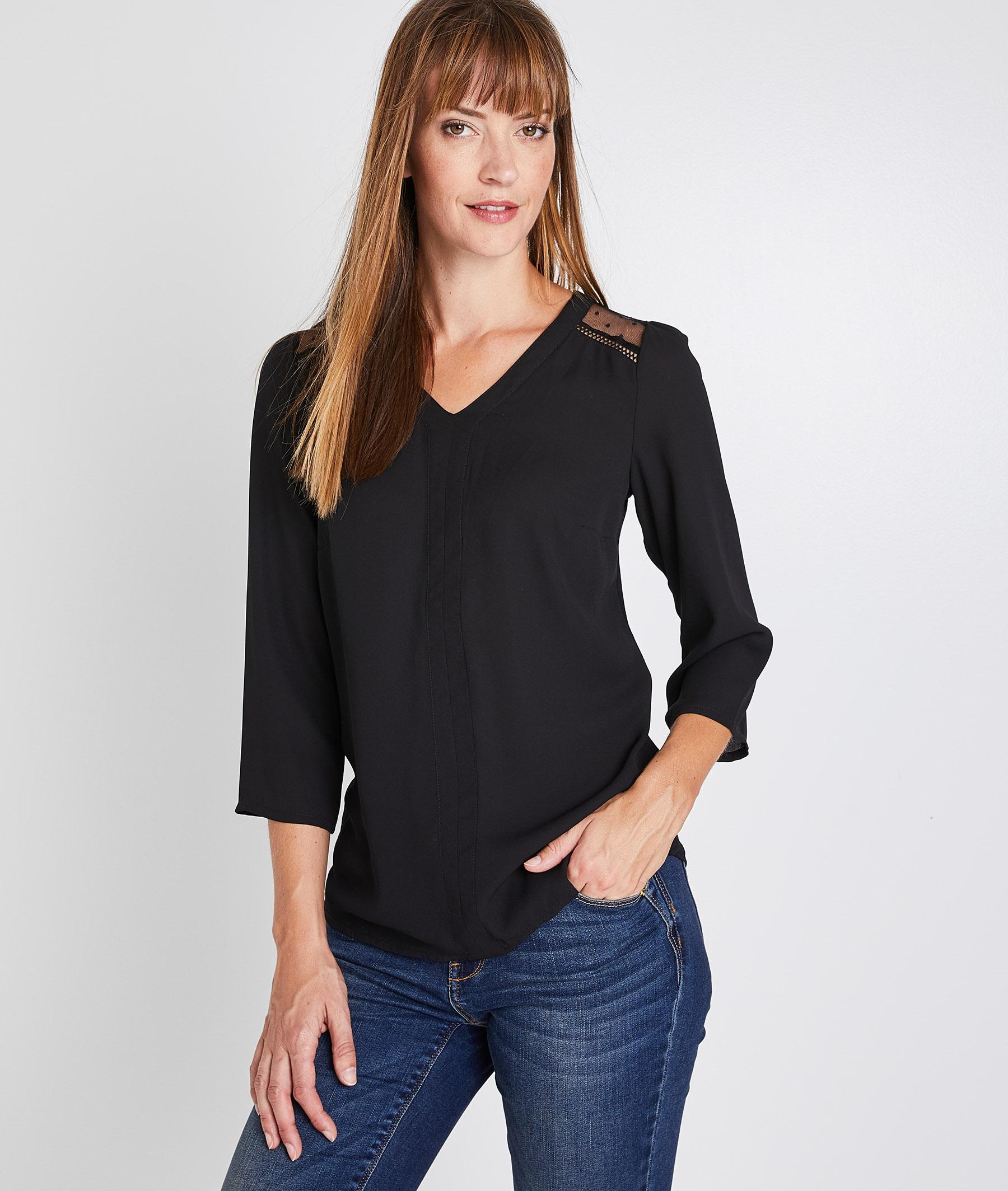T-shirt noir détails plumetis femme NOIR
