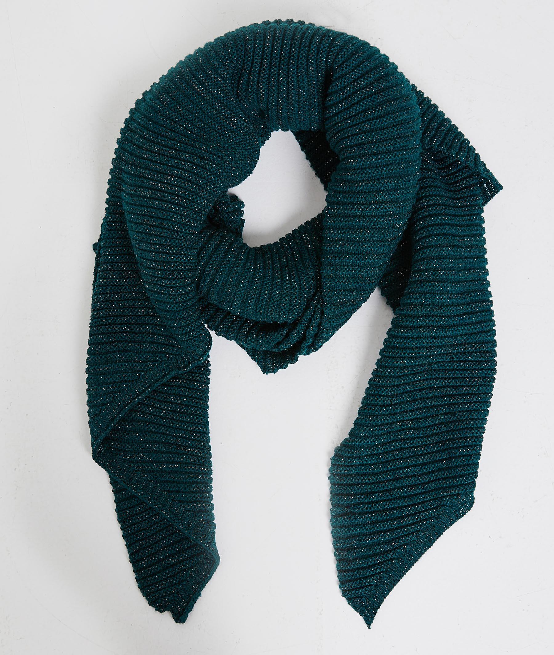 Echarpe unie en tricot femme VERT