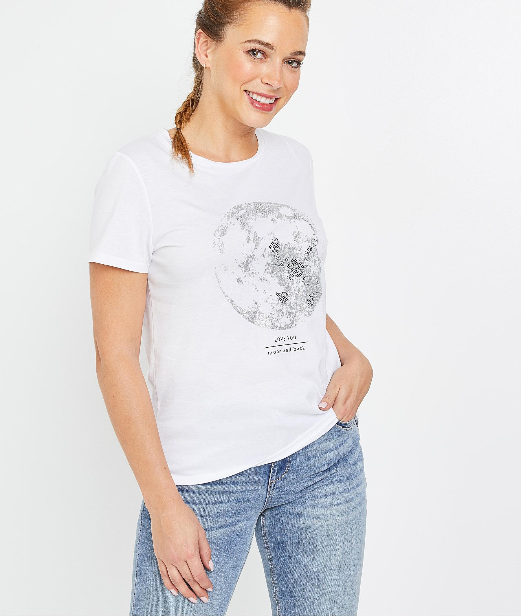 T-shirt blanc imprimé lune femme BLANC