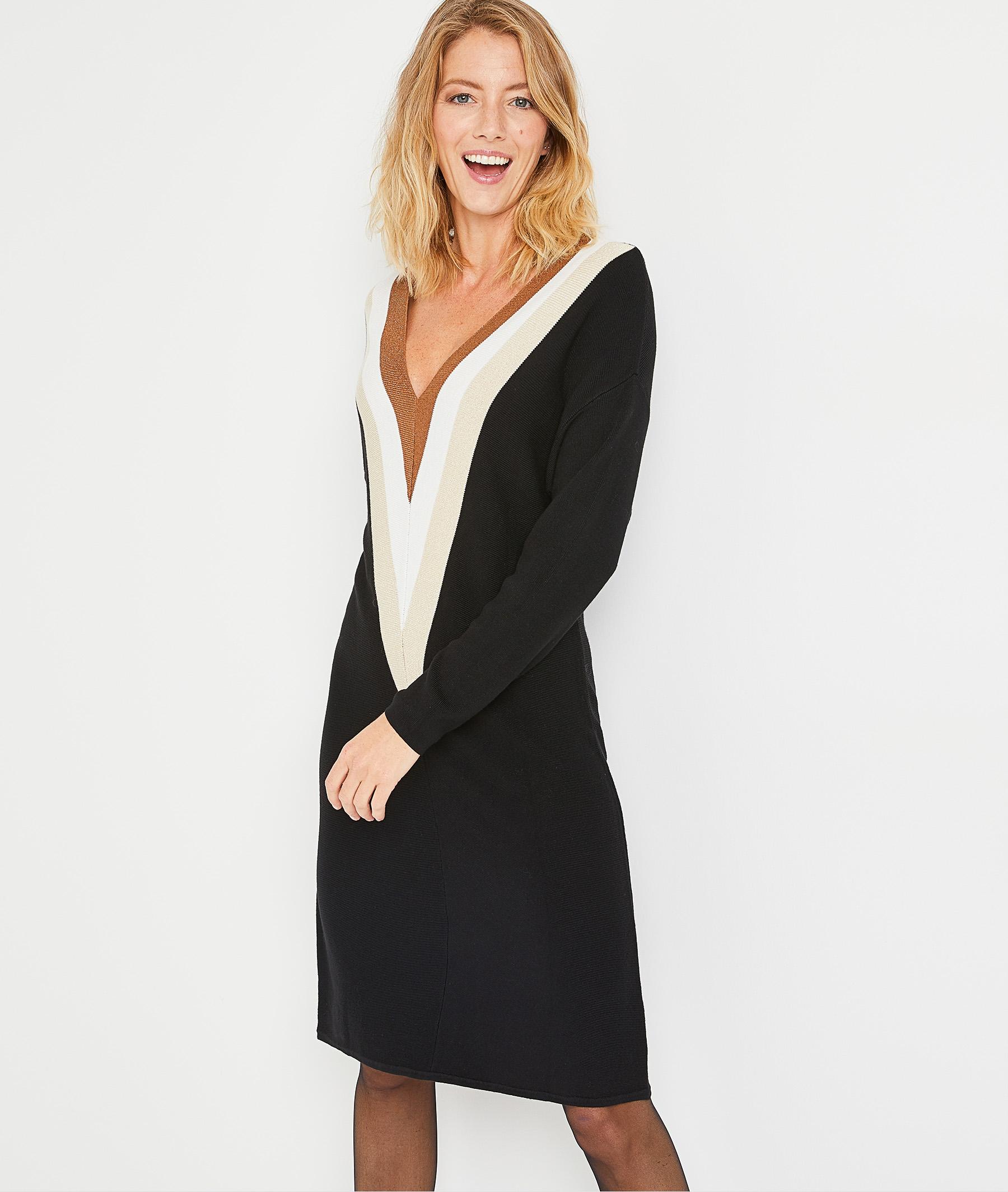 Robe pull color block femme NOIR