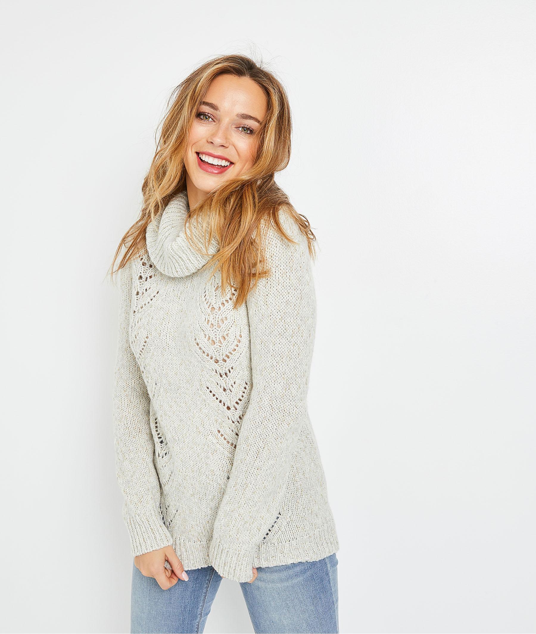 Pull en tricot gris ajouré femme GRIS