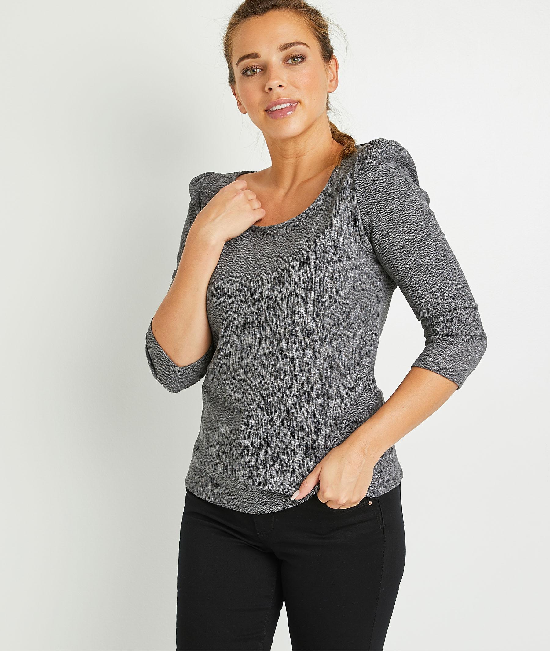 T-shirt brillant gris femme GRIS