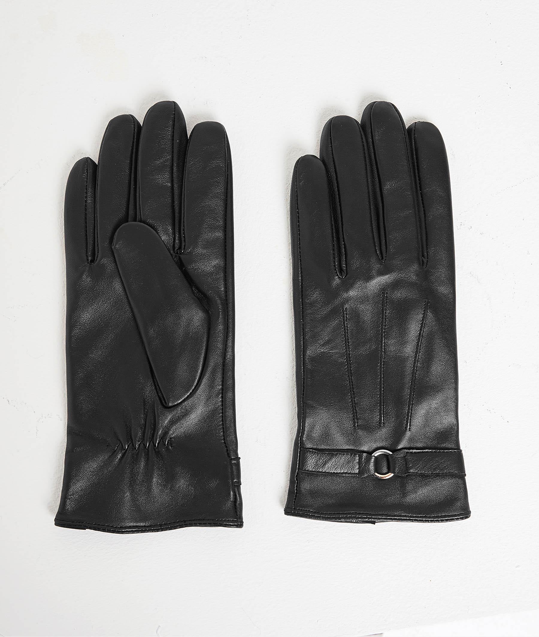 Gants en cuir noir femme NOIR