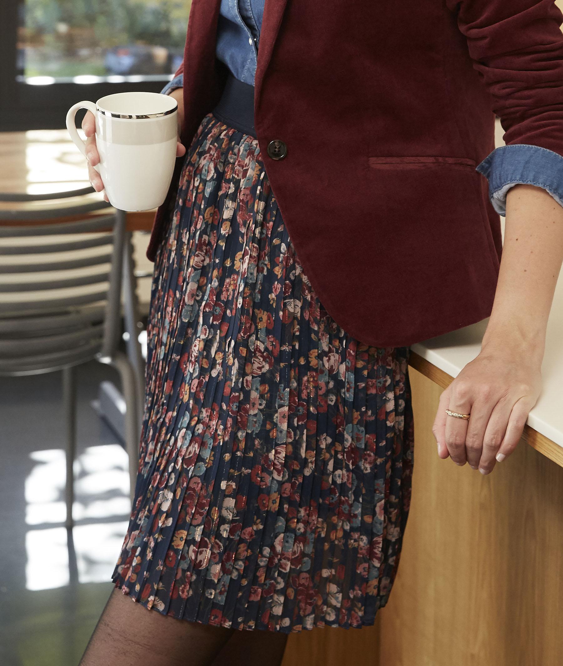 Jupe courte plissée et fleurie femme BLEU