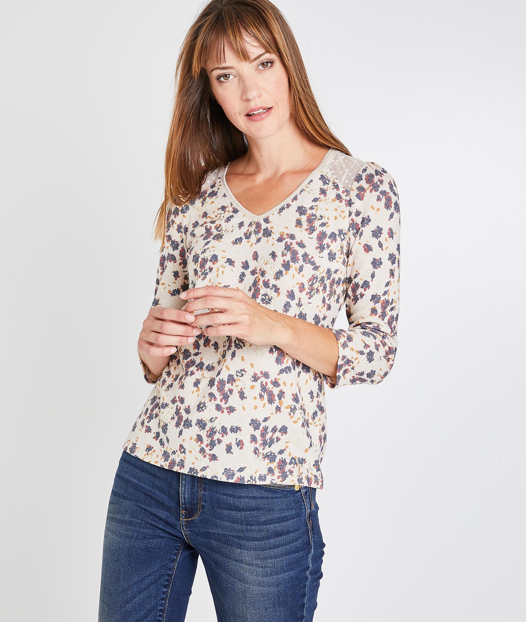 T-shirt fleuri femme BEIGE