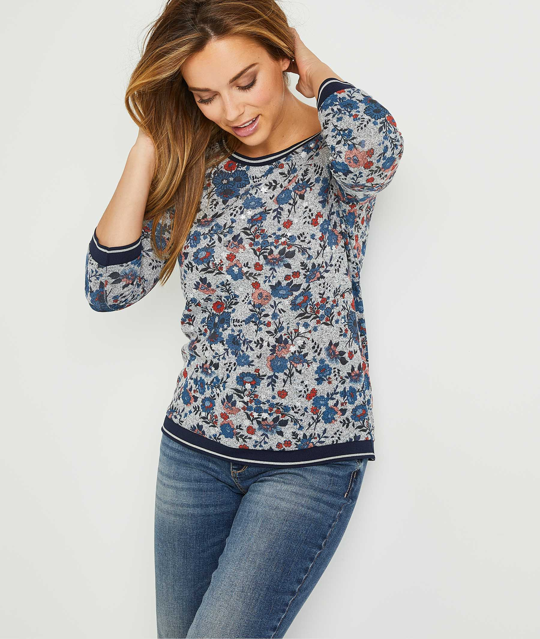 T-shirt doux fleuri femme GRIS