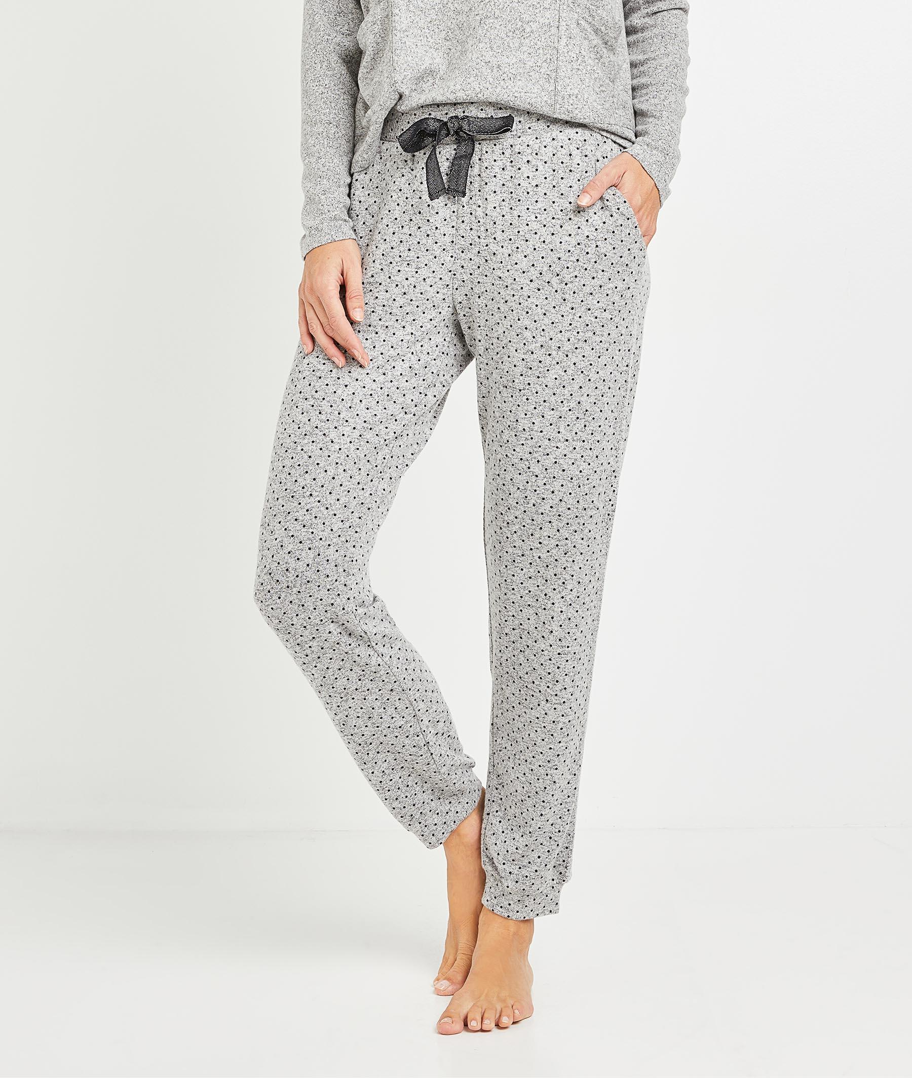Pantalon de pyjama à pois femme GRIS