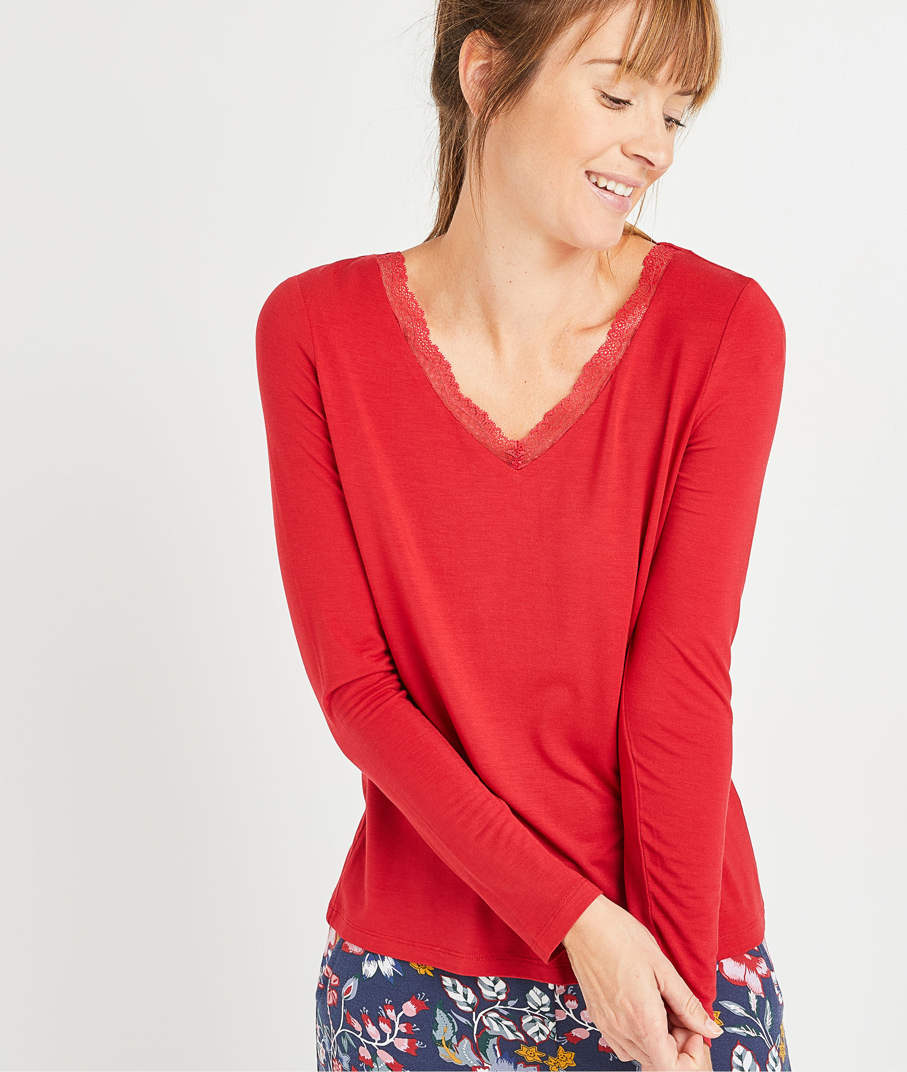 T-shirt en maille rouge femme ROUGE