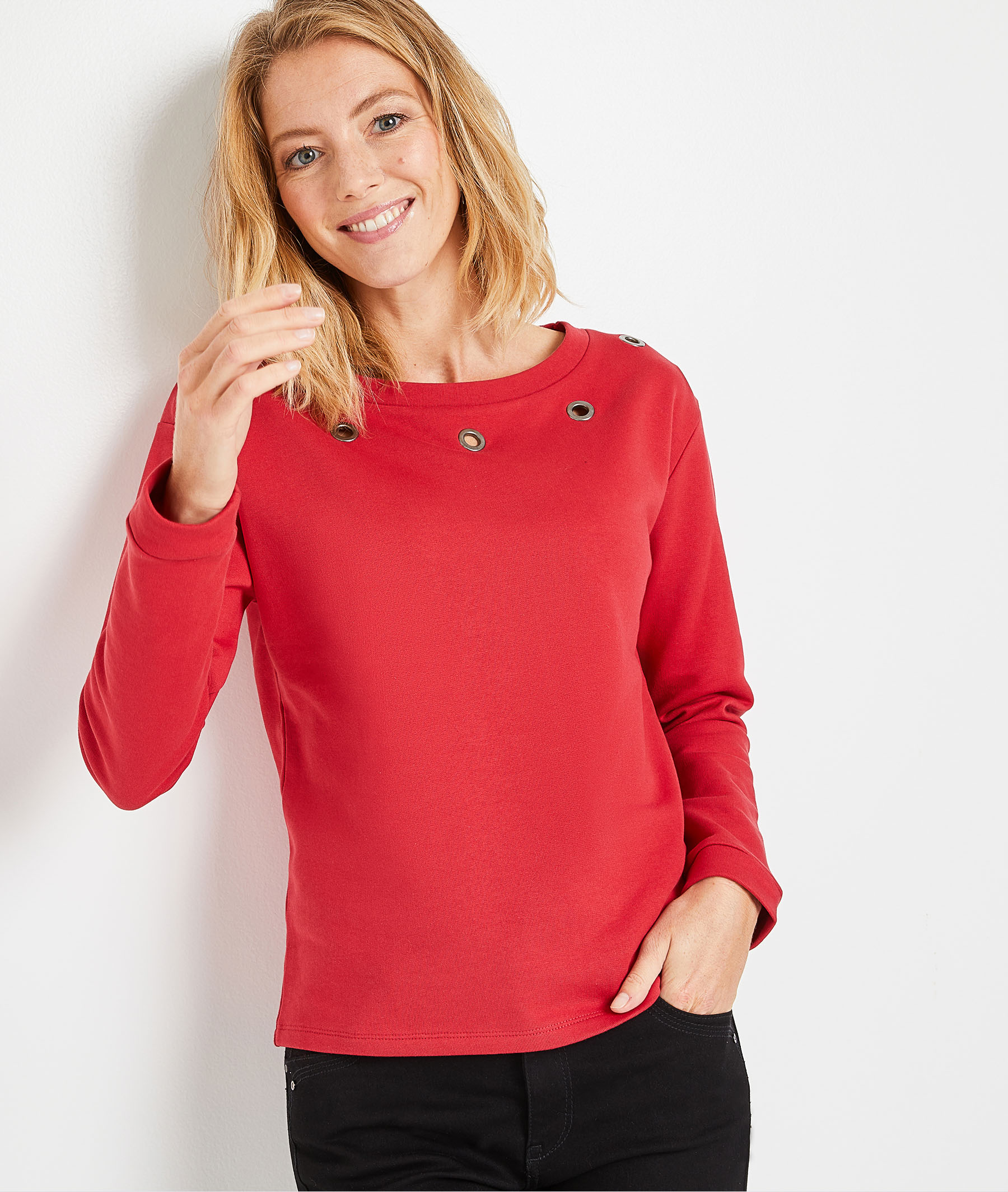 Sweat rouge en coton à oeillets femme ROUGE