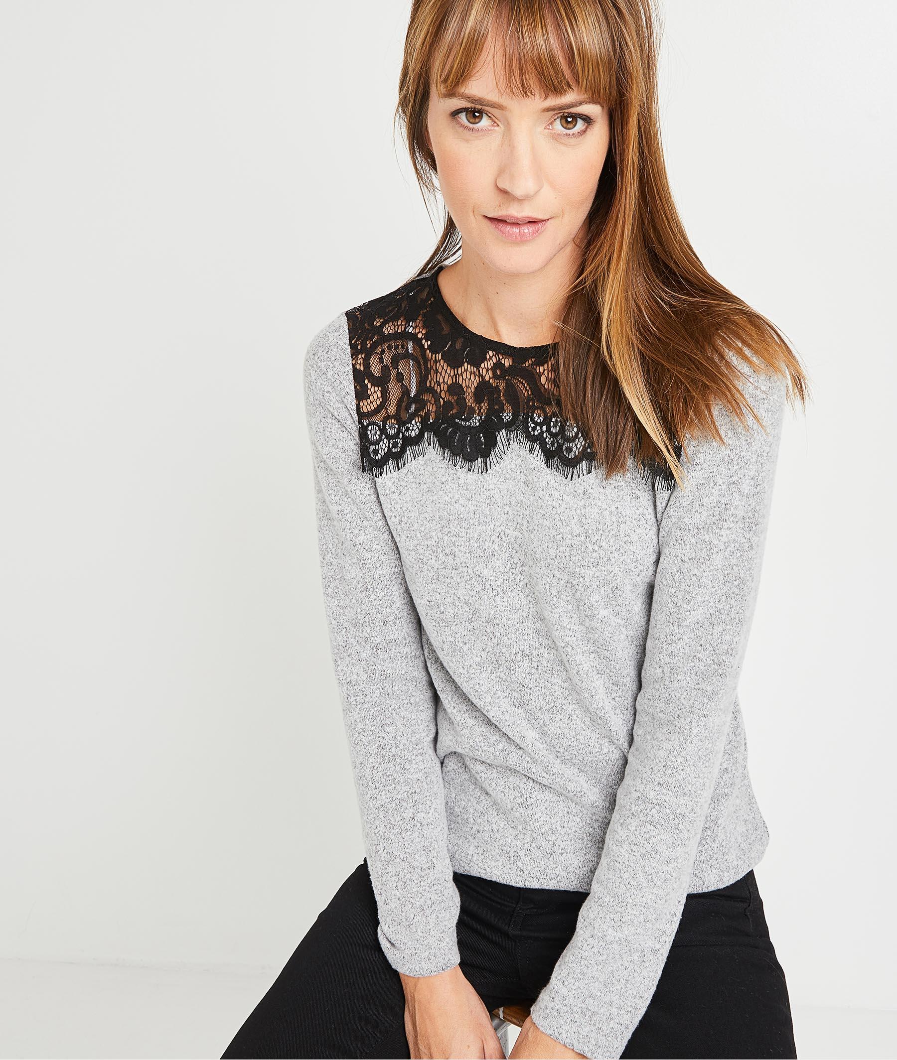 T-shirt gris à dentelle femme GRIS