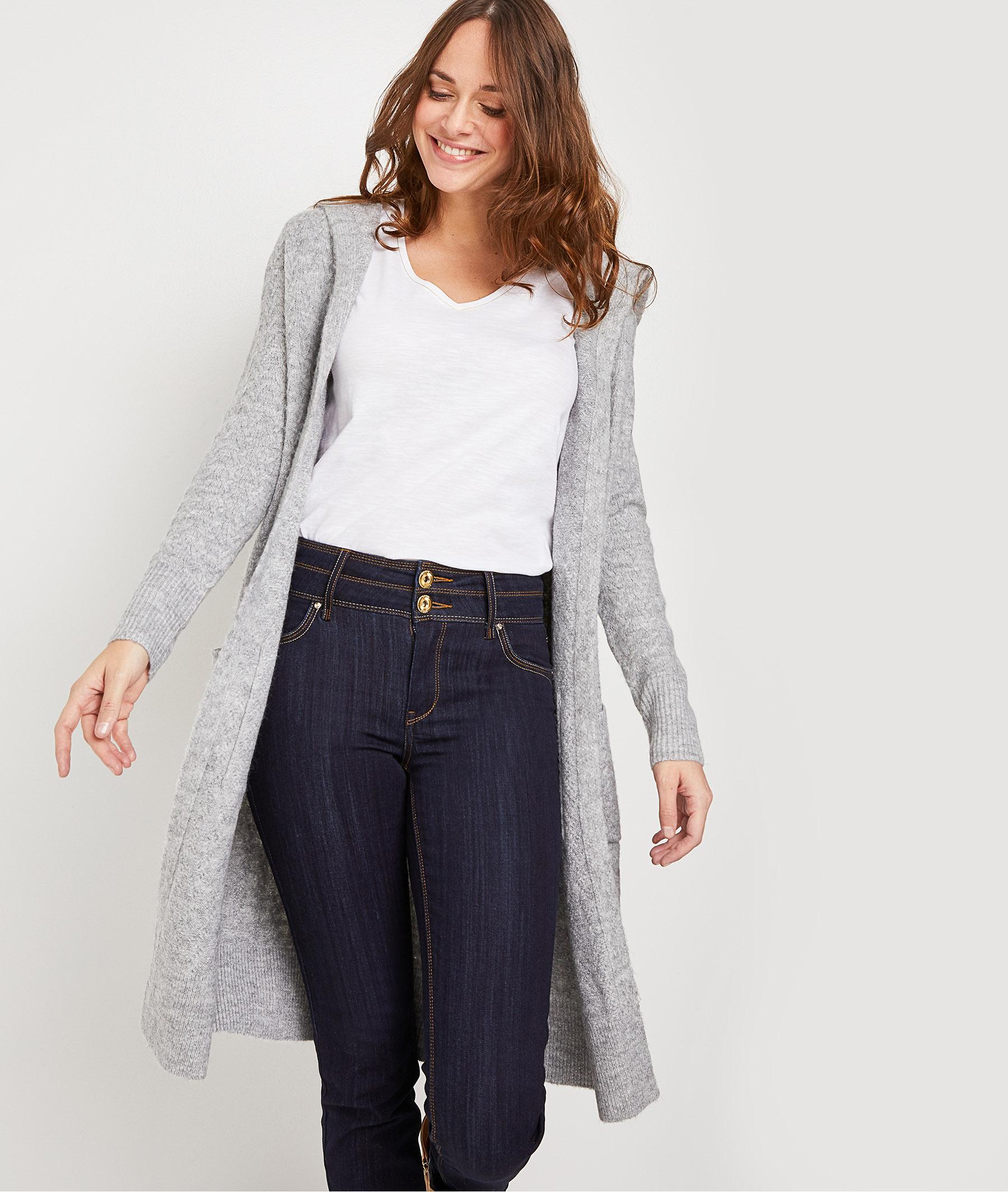 Long gilet en tricot gris femme GRIS