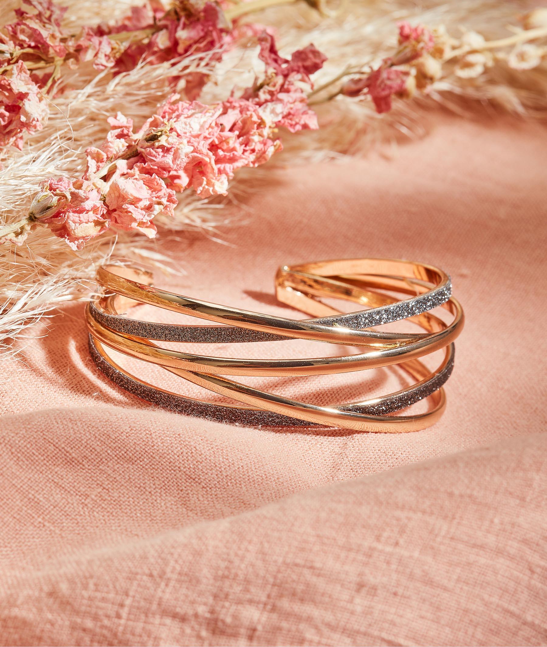 Bracelet manchette femme GRIS