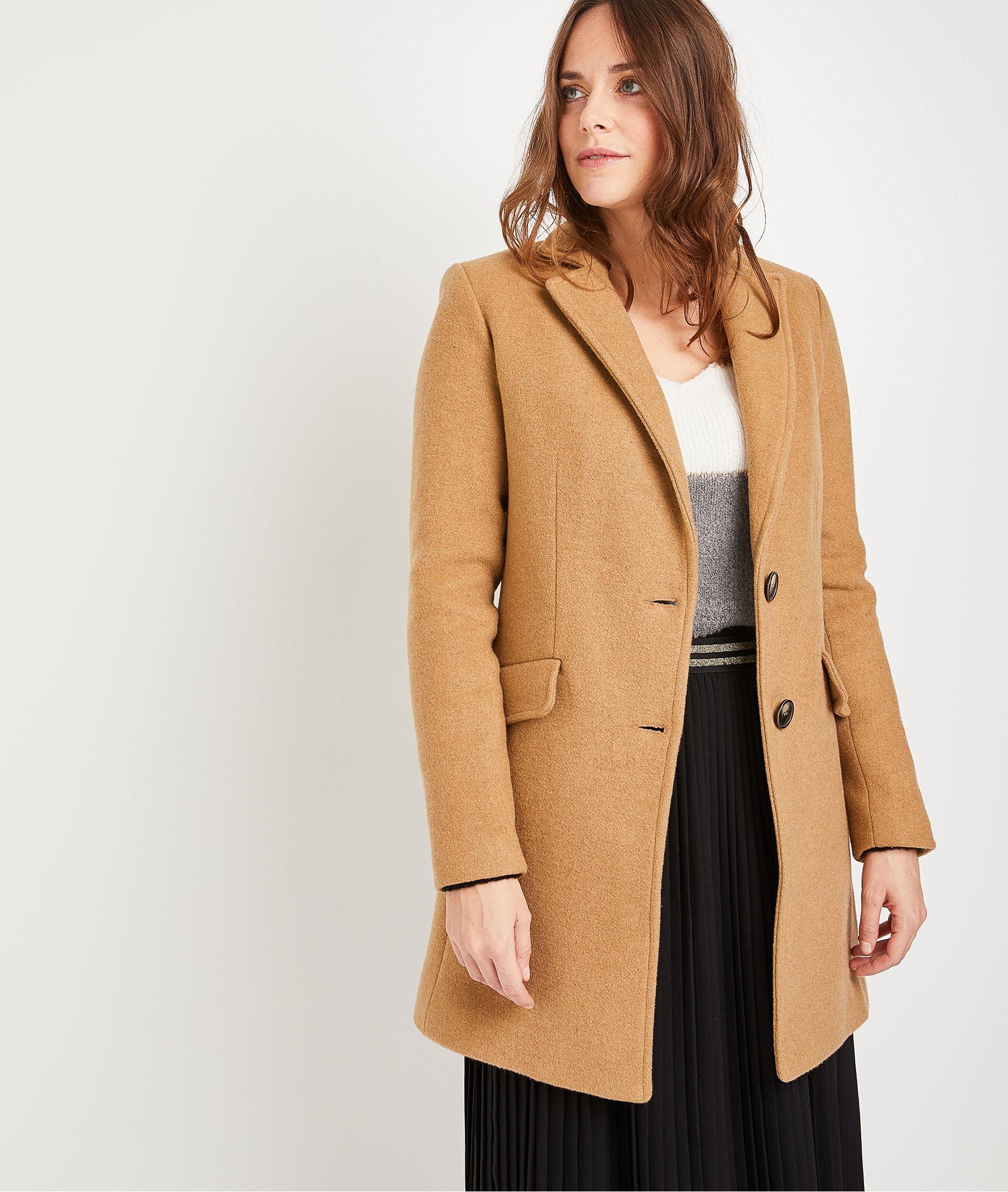Manteau pardessus en lainage camel femme CAMEL