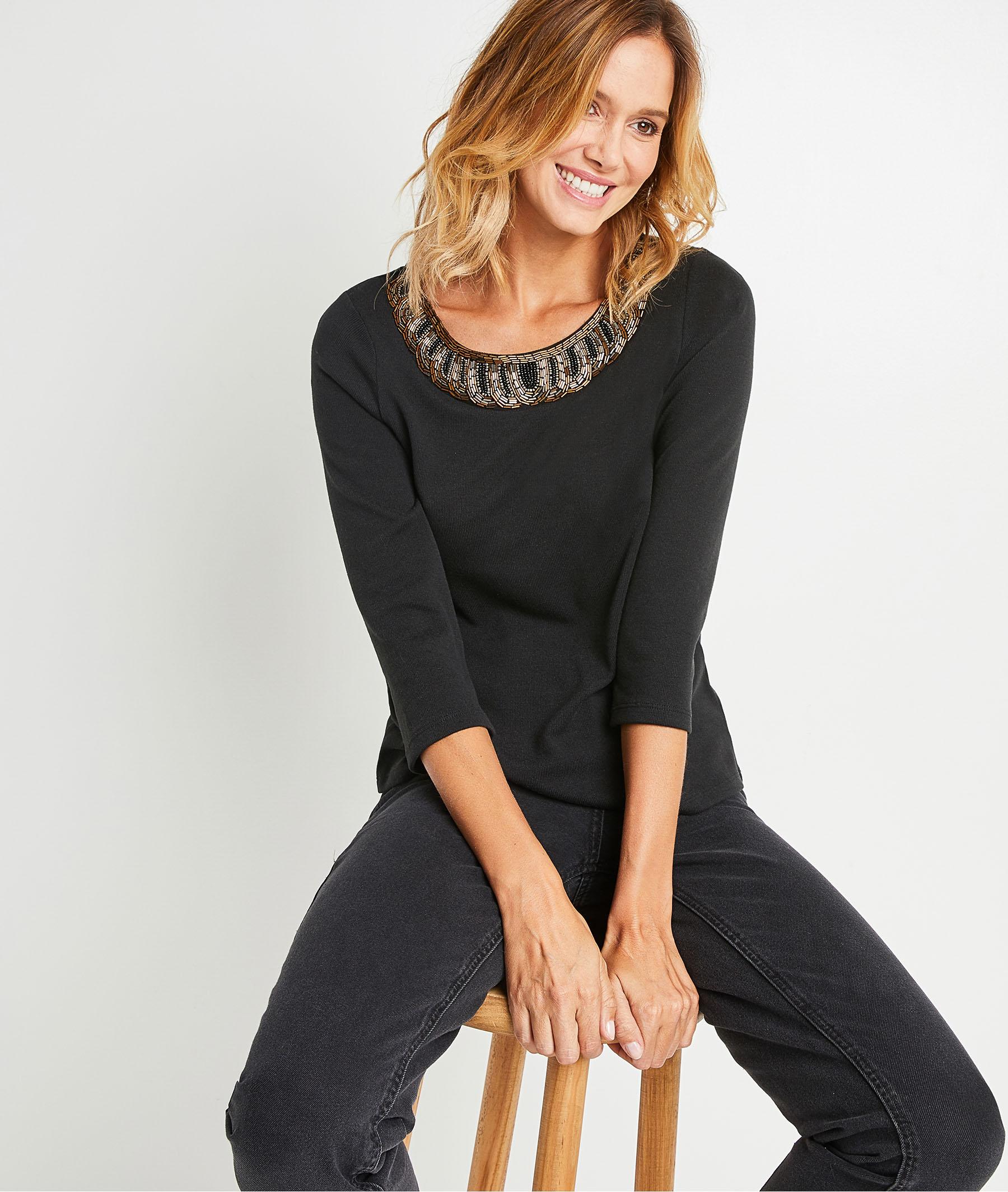 T-shirt noir col bijoux femme NOIR