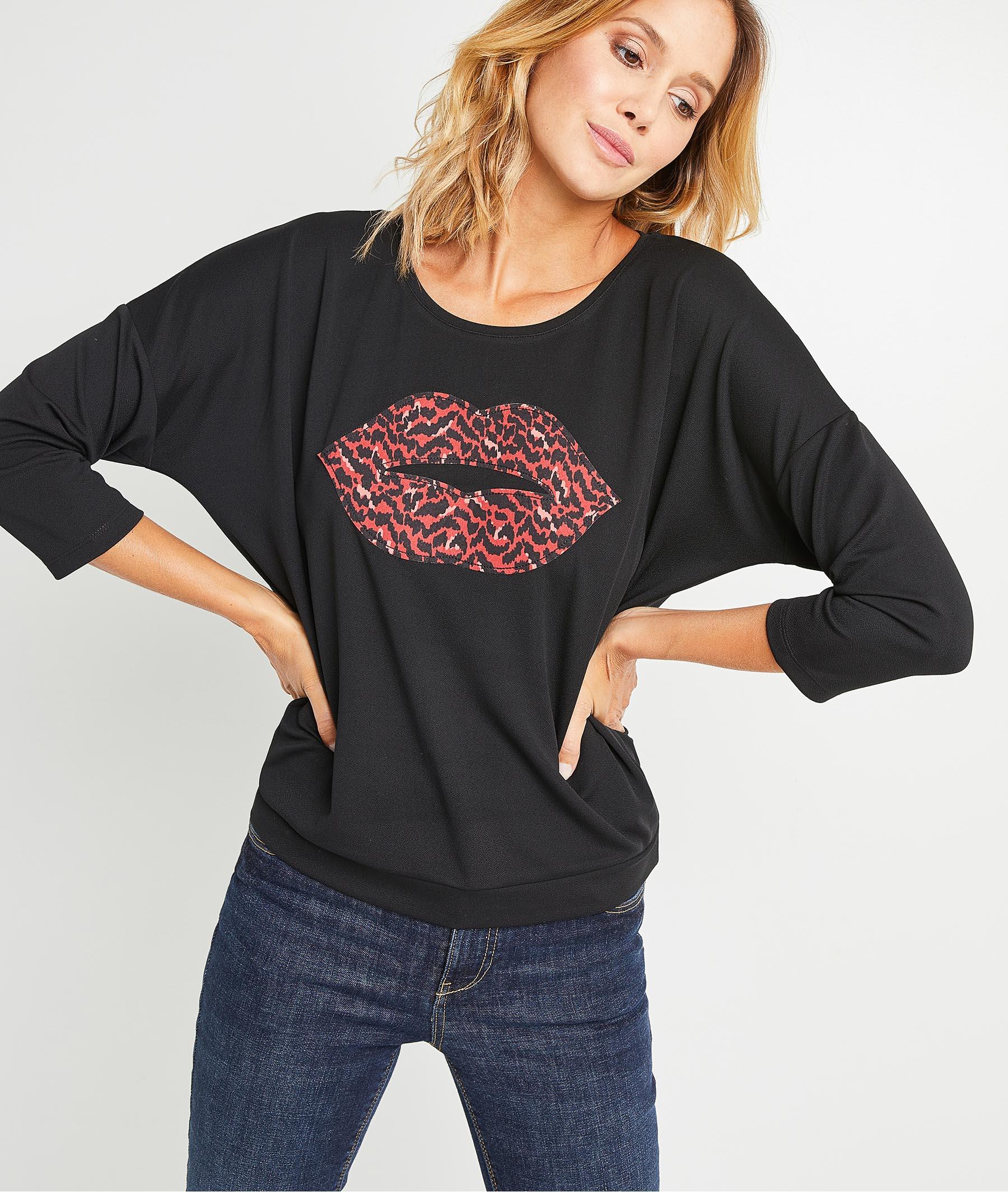 T-shirt imprimé bouche femme NOIR