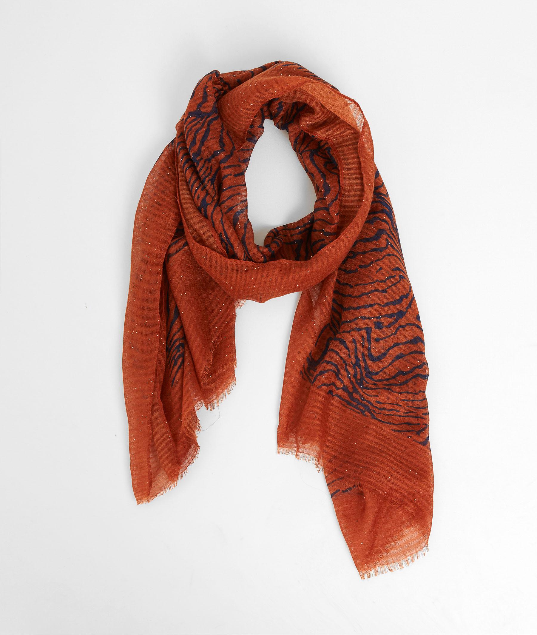 Foulard motif tigré femme CAMEL