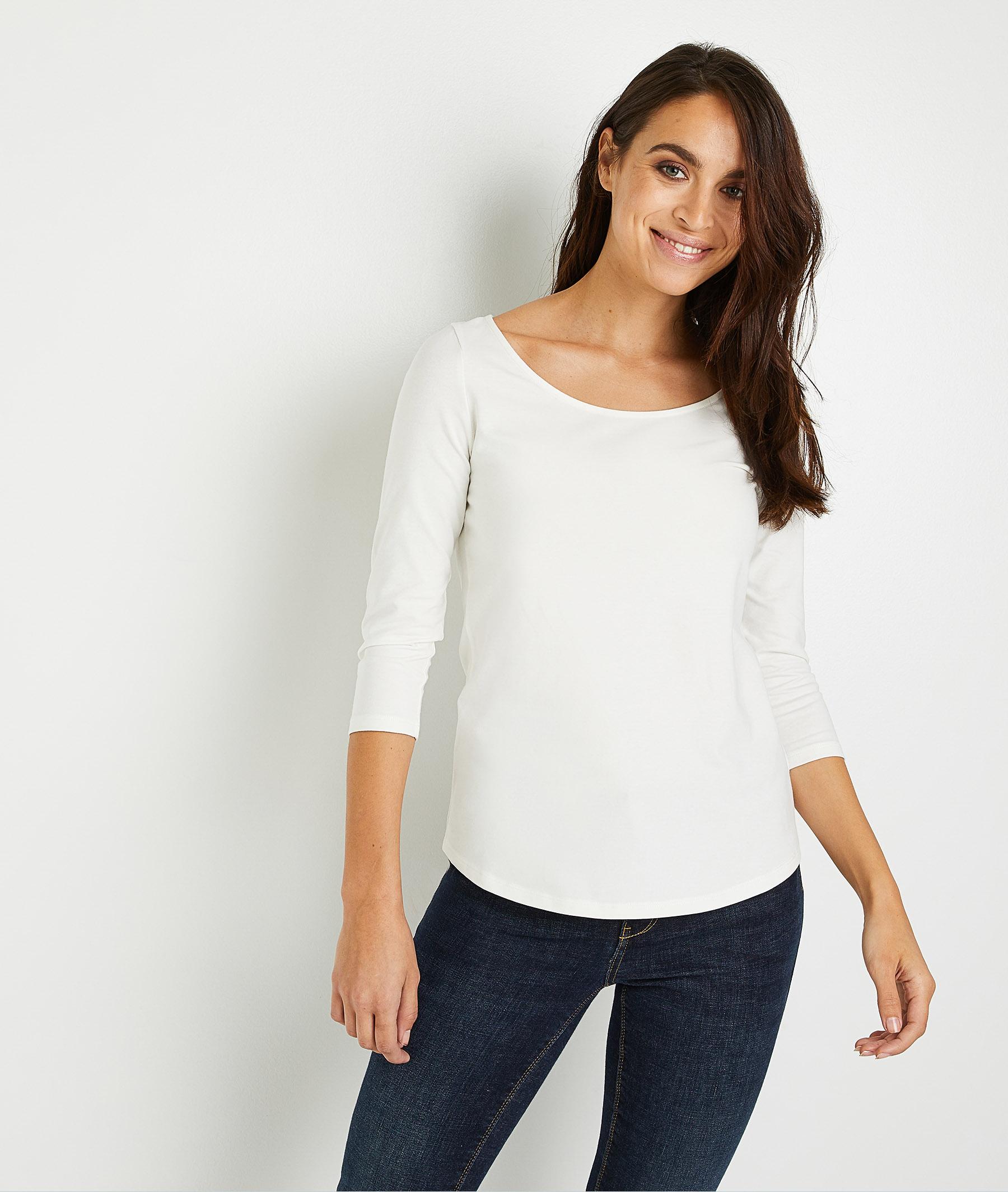 T-shirt basique uni en coton femme BLANC