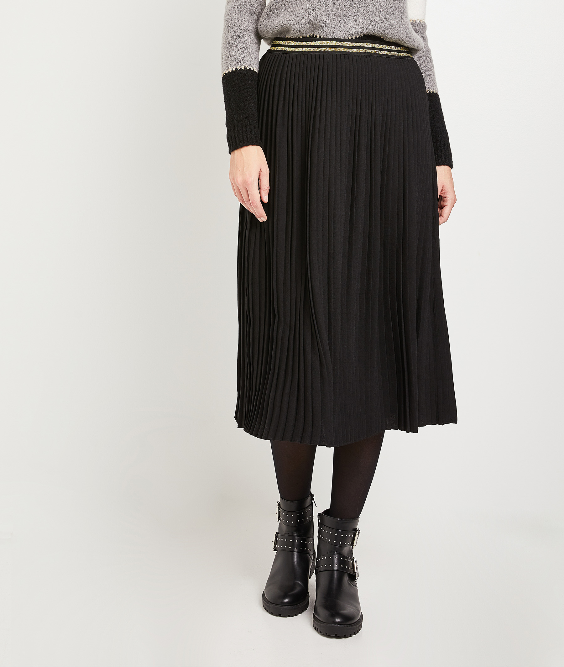 Jupe Plissee Noire Femme Noir Grain De Malice