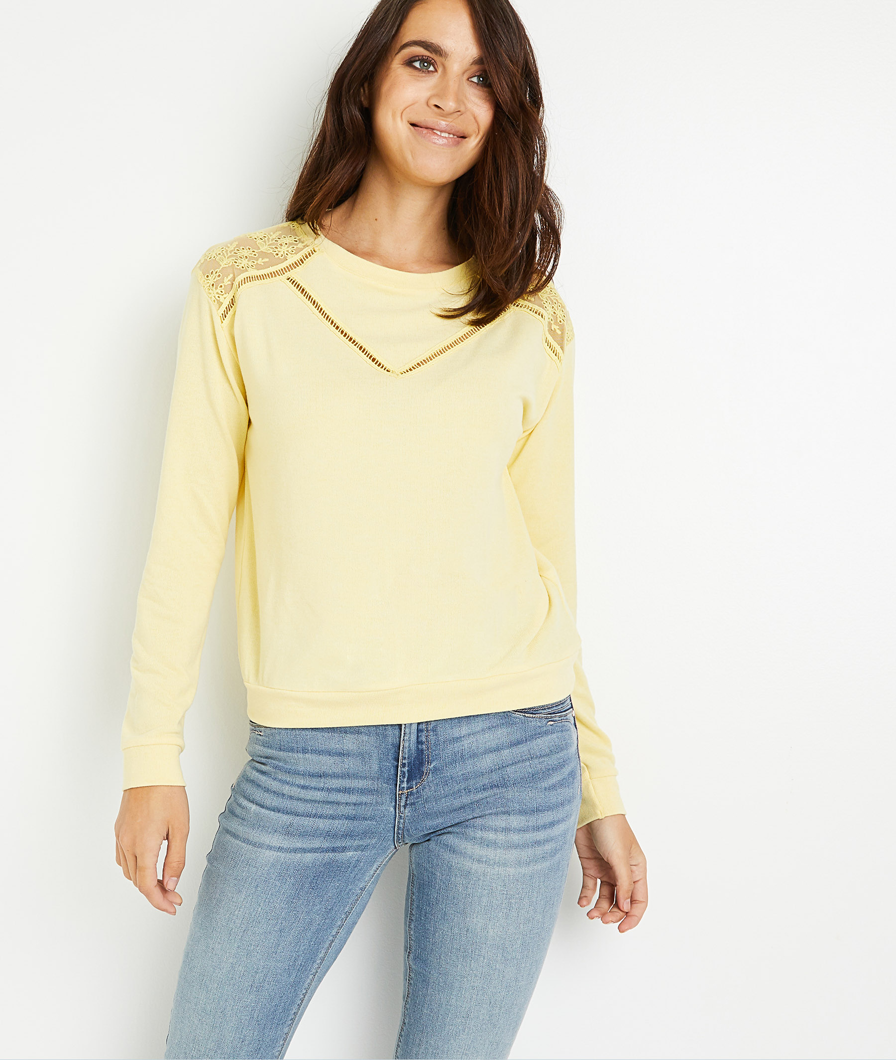 T-shirt jaune à manches longues femme JAUNE