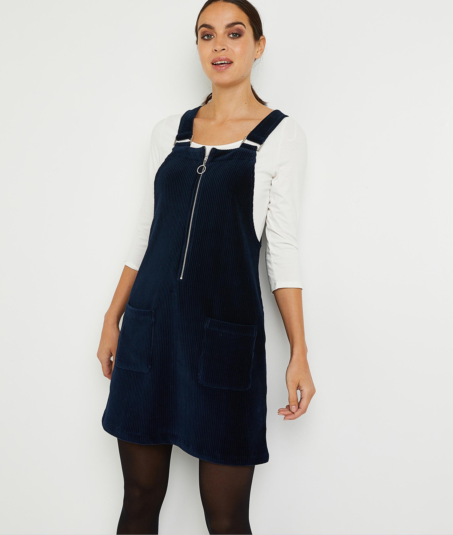Robe chasuble en velours marine femme MARINE