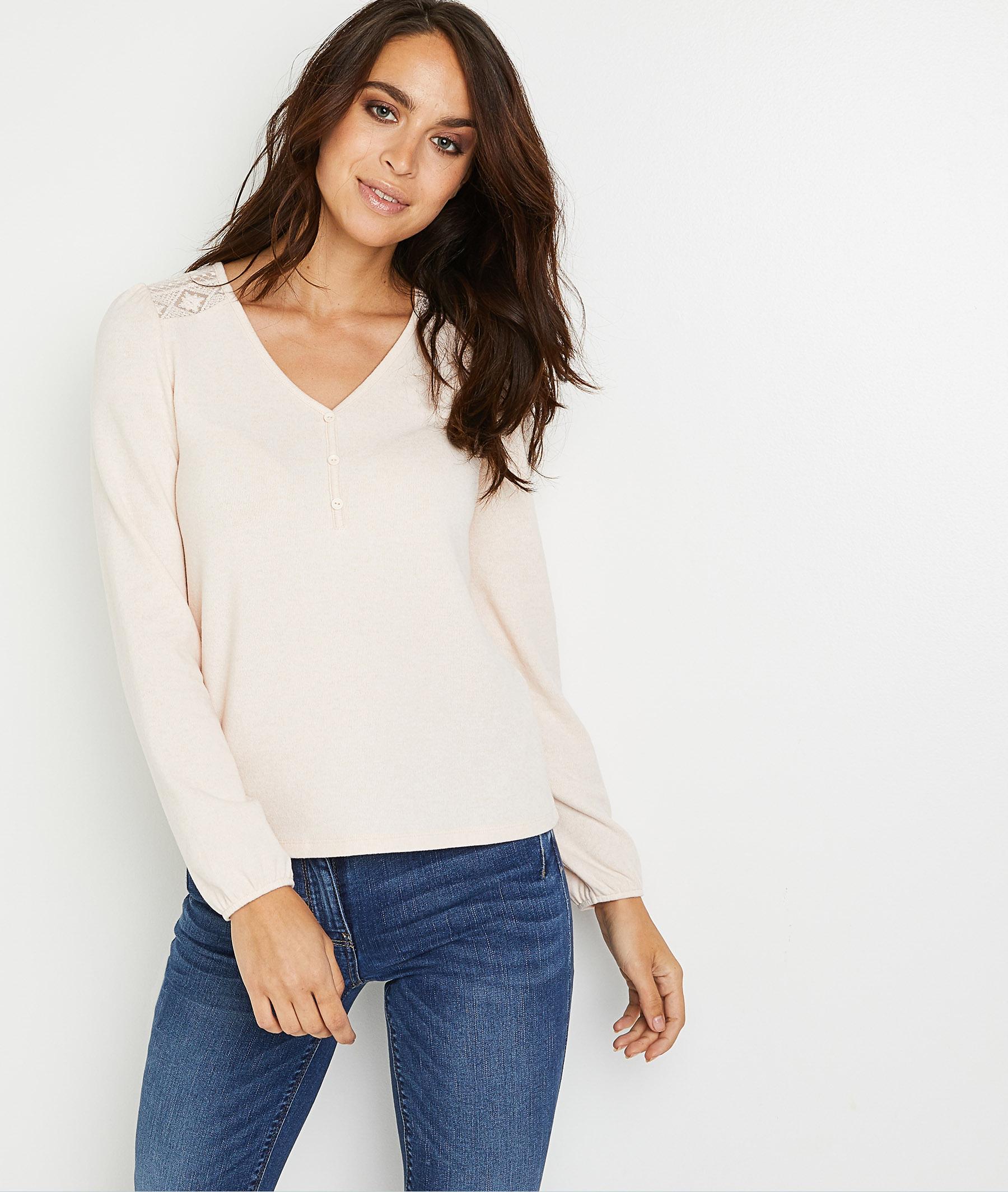 T-shirt uni dos dentelle femme ROSE