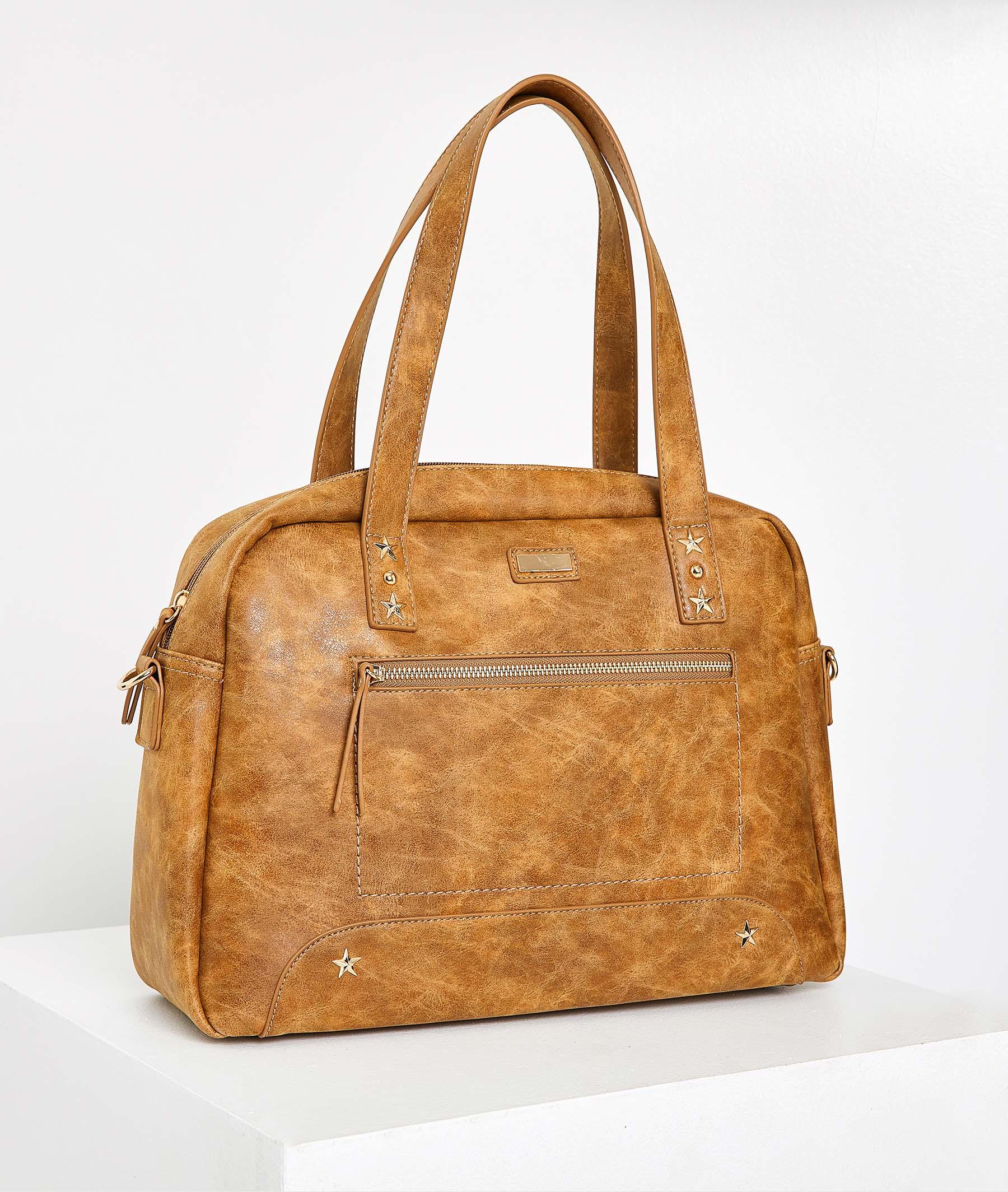 Grand sac en simili-cuir camel femme CAMEL