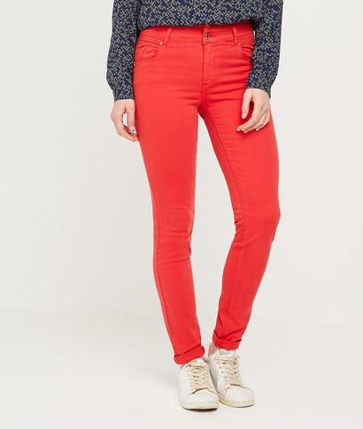 Pantalon slim taille haute femme COQUELICOT