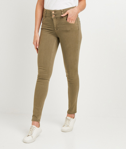 Pantalon slim taille haute femme KAKI