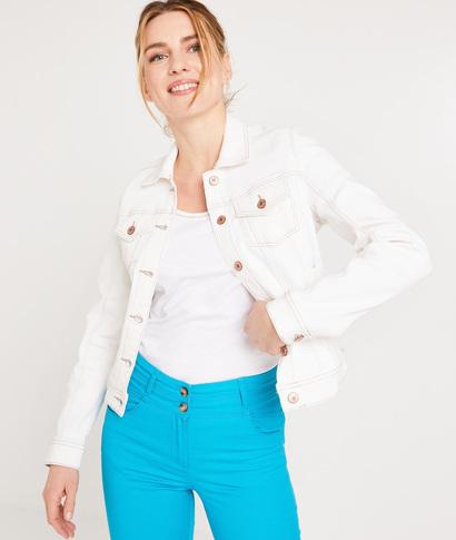 Veste en jean colorée femme BLANC CASSE
