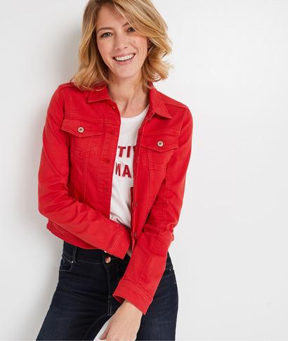 Veste en jean colorée femme COQUELICOT