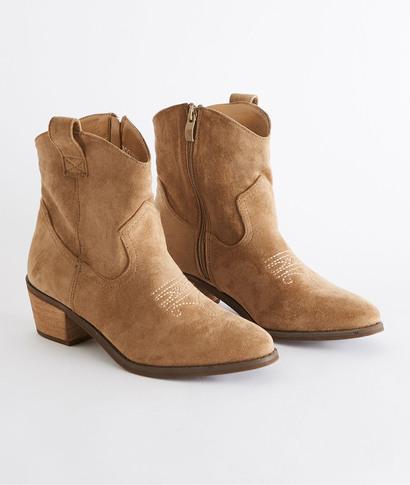 Boots esprit santiag femme BEIGE