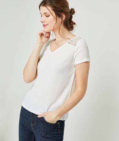 T-shirt maille froissée et guipure femme ECRU