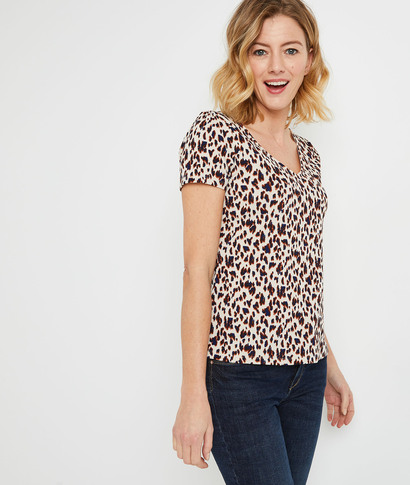 T-shirt léopard en maille froissée femme ECRU