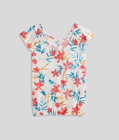 T-shirt imprimé fleuri femme BLANC