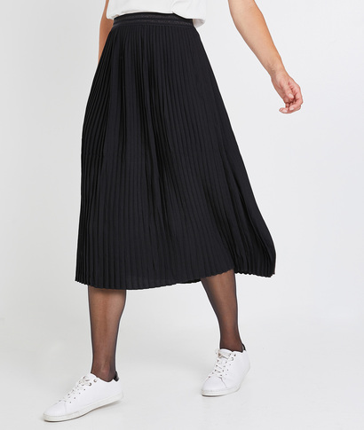 Jupe longue plissée noire femme NOIR