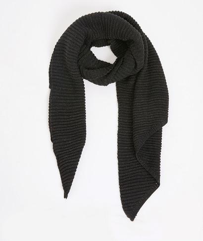 Echarpe unie en tricot femme NOIR