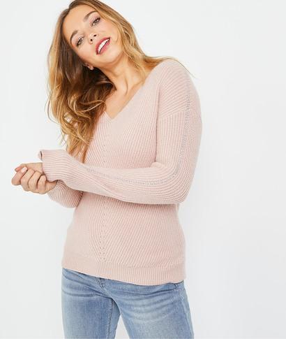 Pull en tricot rose femme ROSE