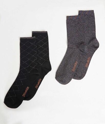 Duo de chaussettes fantaisie femme NOIR