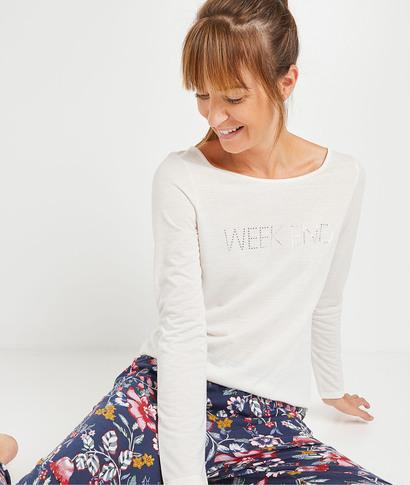 T-shirt en coton écru femme ECRU